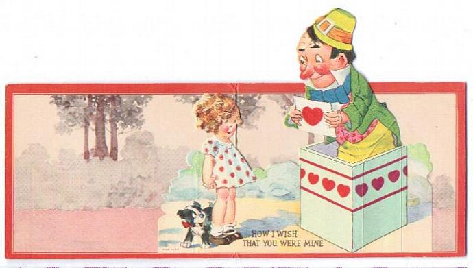 Vintage Valentine Card 1930s Peek a Boo Pop Up Clown Greeting Girl Puppy