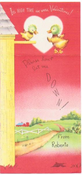 Vintage Valentine Card 1940s Greeting Ducks Heart Barn Tri Fold