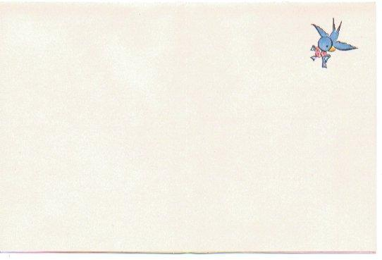 Vintage Greeting Card UNUSED 1950s I'm So Sorry Little Girl Straw Hat Blue Bird