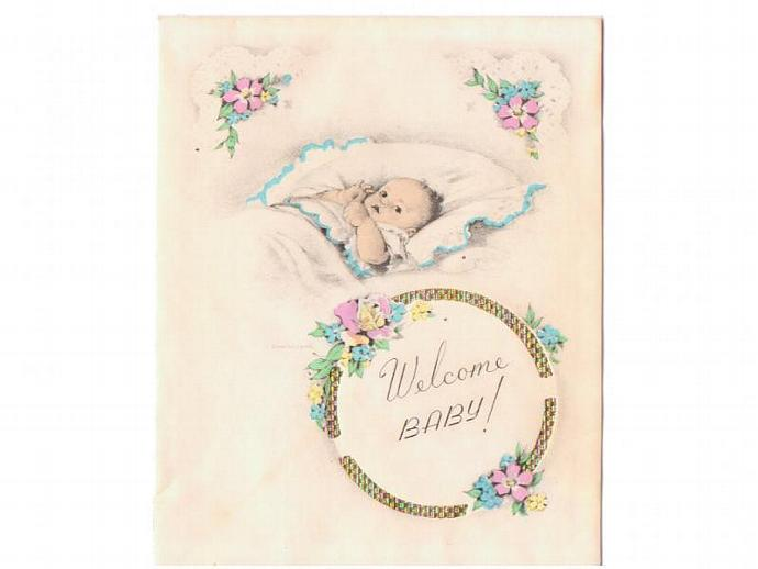 New baby greeting card unused by sandycreekcollectables on zibbet new baby greeting card unused vintage 1940s welcome baby steel engraved m4hsunfo