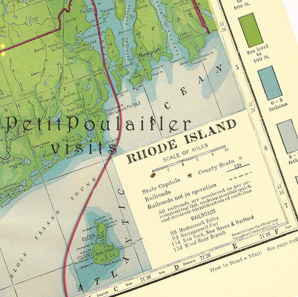 Rhode Island USA 1935 Antique Engraved by PetitPoulailler on Zibbet