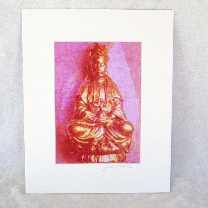 Rose-Gold Kwan Yin Photoprint, 5x7 print matted to  8x10 inches overall