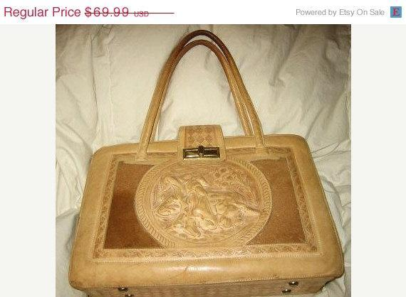 9670777dba9d Vintage Mexican Tooled Leather Purse Handbag Bag Bullfight Aztec Calendar
