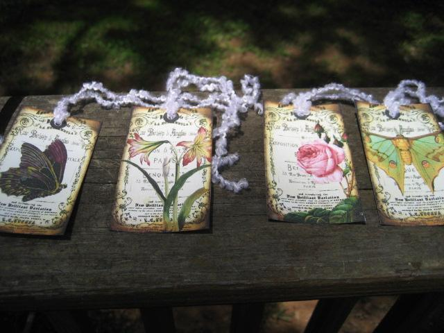 set of 9 vintage inspired flower and butterfly collage shabby gift hang tags pre