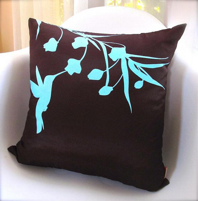 Limited Time Sale Robins Egg Blue Print on Brown Silk Hummingbird with