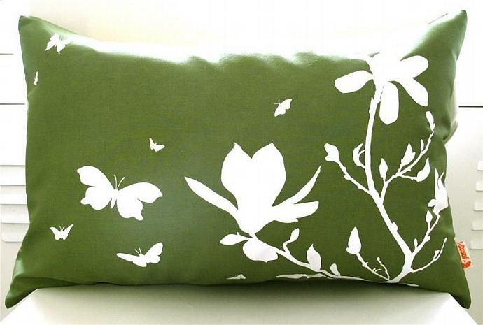 Olive Green Magnolia and Butterfies Rectangle Pillow