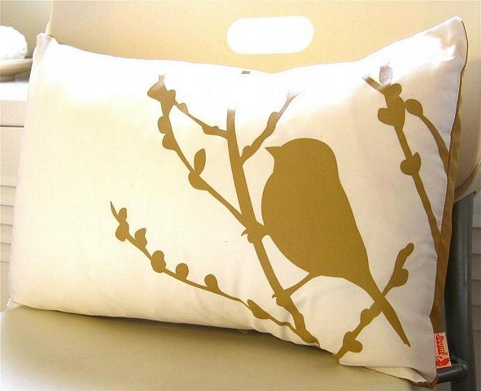 Mustard Print on Off White Cotton Bird on Cherry Blossom Pillow