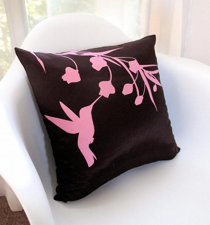 Limited Time Sale Rose Pink Print on Brown Silk Hummingbird with Eucalyptus 16