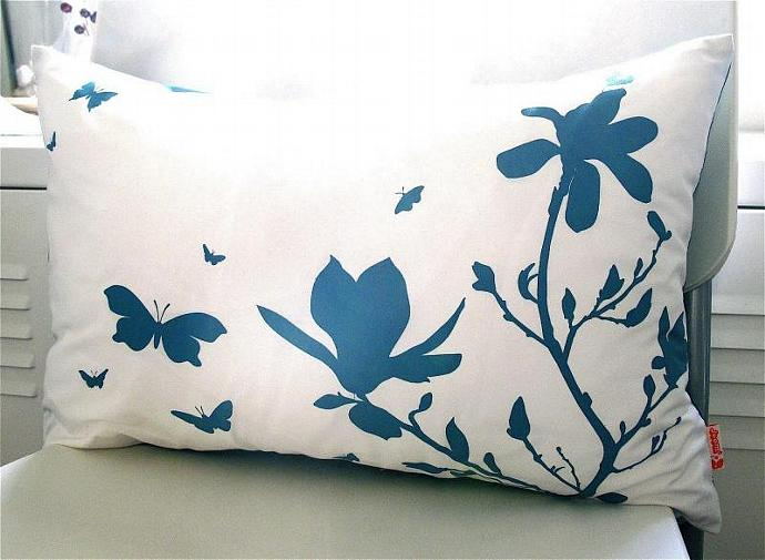 Teal Print on Off White Cotton Magnolia and Butterfies Rectangle Pillow