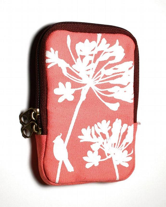SALE Coral Pink Cardinal on Agapanthus Case