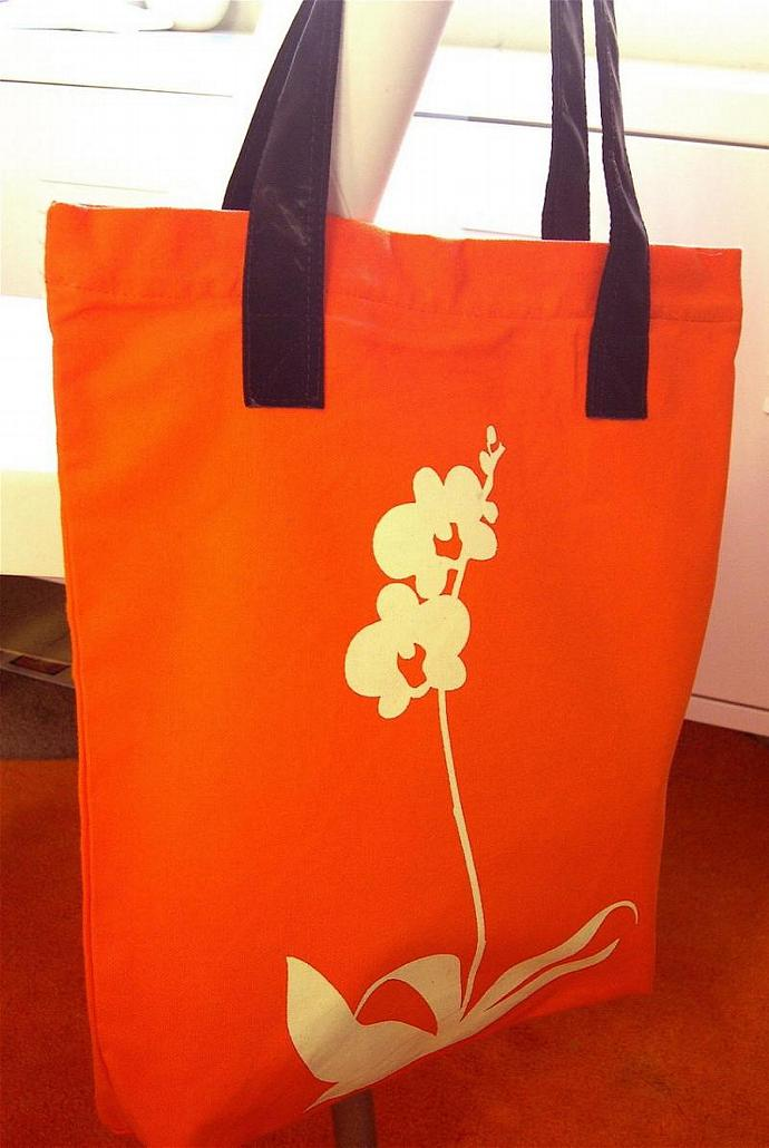 SALE Orange Orchid Shoulder Tote Bag