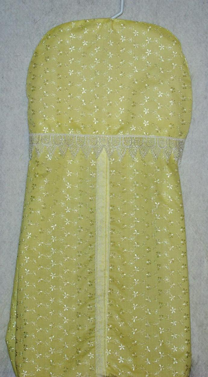Yellow Embroidered Cotton Diaper Stacker