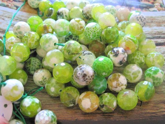 Fire Agate Apple Green Faceted Round 12mm Beads, 8pcs