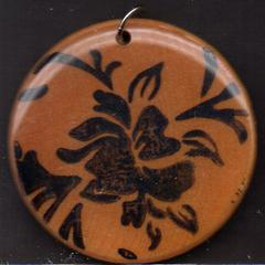 Flower - Stamped Wood Art Pendant