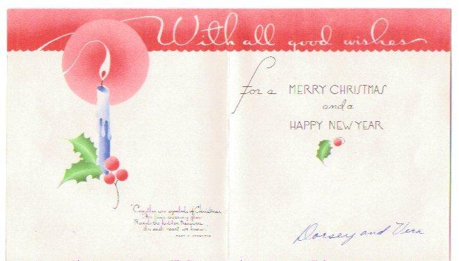 Vintage Christmas Card 1940s Greeting Blue Candle Holly Patriotic