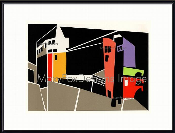 Art - CITYSCAPE  Fine Art Print Abstract Collage Landscape Red Orange Yellow