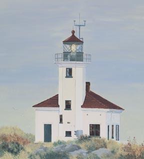 """Cape Arago Lighthouse"" Canvas Giclee Print Oregon Coast by Carol Thompson"