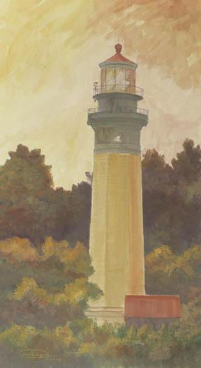 """Autumn Light"" Canvas Giclee Print Grays Harbor Lighthouse by Carol Thompson"