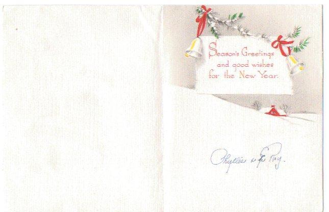 Vintage Christmas Card 1940s Greeting Bell Glitter, House, Trees Tan Red Gray