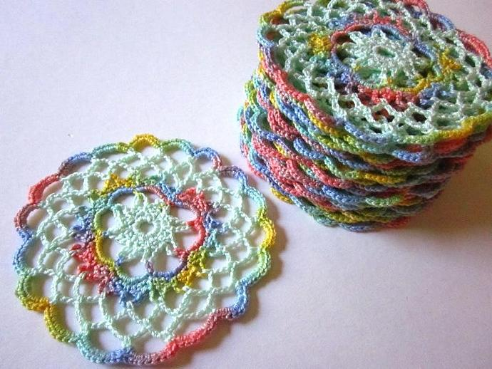 New Multicolored Pastel Handmade Crocheted Cotton Coaster Doilies for sale