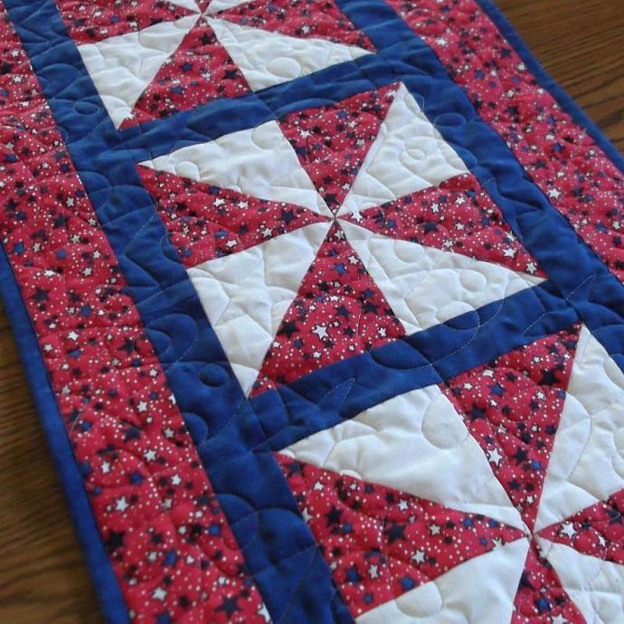 Stars on Red Pinwheel Tablerunner