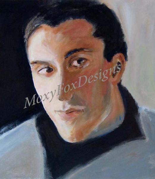 HIS GLANCE Portrait Fine Art Giclee Print Tall Dark Handsome Man Fits 11x14 Inch