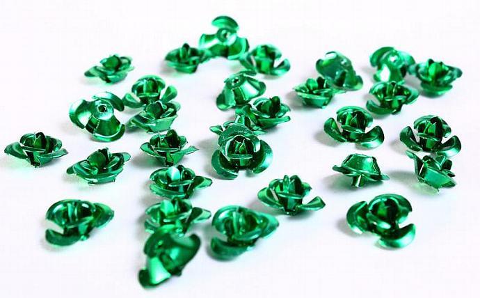 30 12mm green rose flower aluminum cabochon bead 30pcs (687)