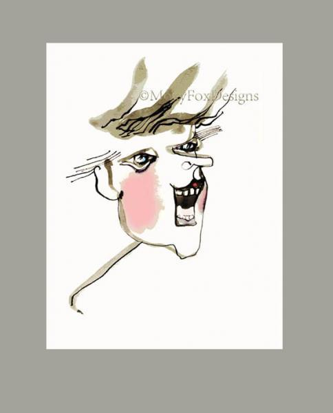 BLUSH of SPRING Fine Art Print Pen Ink Watercolor Drawing Portrait Caricature
