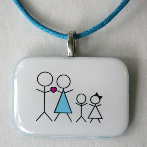 Stick People Family - Custom Made necklace for Mom, Resin, Handmade