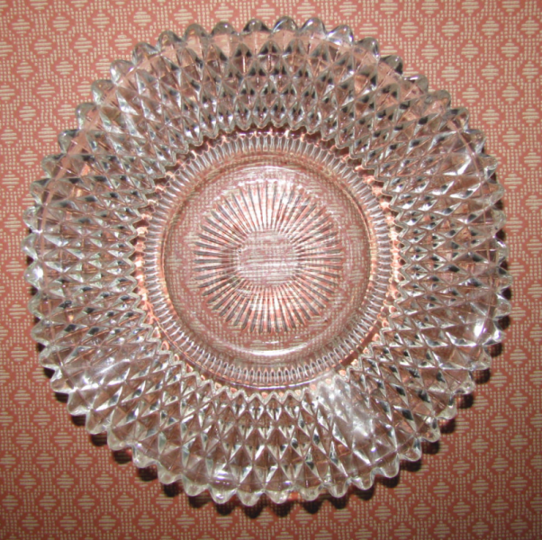 Diamond Point Ruffled Edge Antique Depression Glass Dish