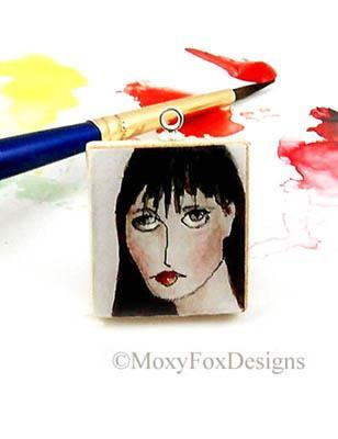 SCRABBLE TILE Necklace HAND PAINTED Watercolor Jane Austin, Pride and Prejudice