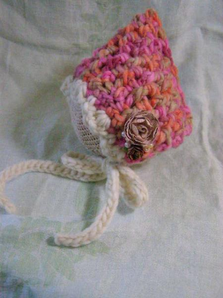 Crochet Newborn Weave Stitch Bonnet in Autumn Pinks with Mocha Roses and Pearl
