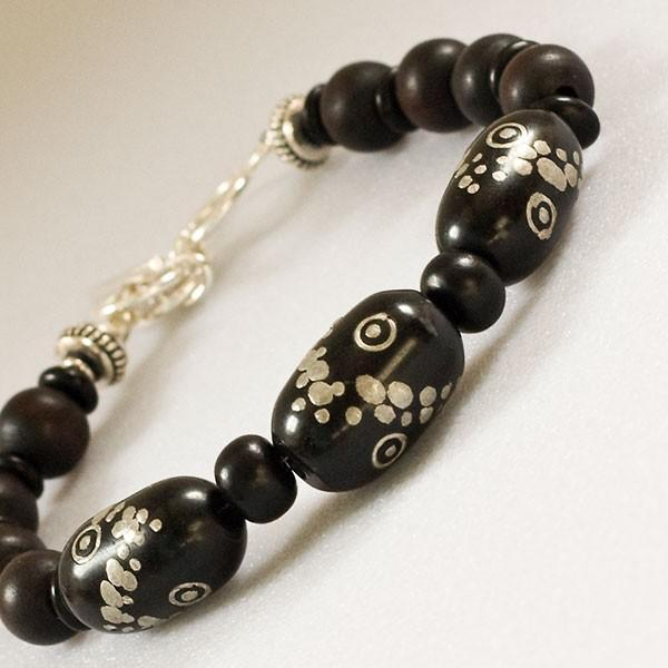 Old Yemeni prayer bead bracelet with black coral and sterling
