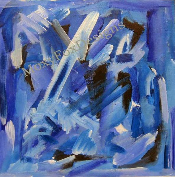 Art -- A FLURRY OF BLUEBIRDS Fine Art Print Abstract Blue Contemporary Vibrant