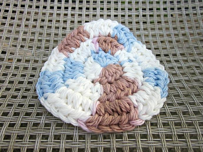 Tan, White, and Blue Cotton Crochet Face Scrubbies Set of 3