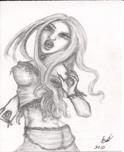 Vampire in Motion, pencil sketch, original