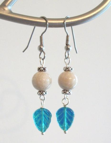 Czech Glass and Fossil Bead Leaf Dangle Earrings in Light Tan and Teal