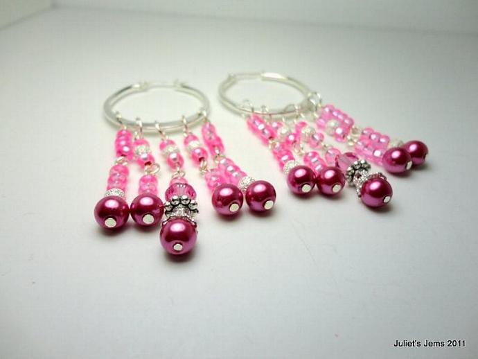 Chandelier Dangle Earrings Hot Pink Rose Silver Glass Beaded