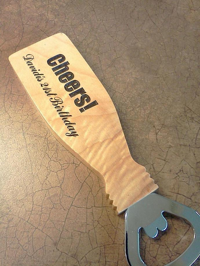 Personalized Maple bottle opener with magnetic handle, laser engraved
