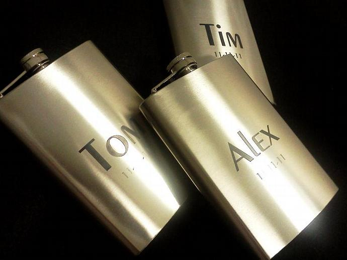 Personalized laser engraved Stainless Steel Flask 8oz. create your own- SET OF