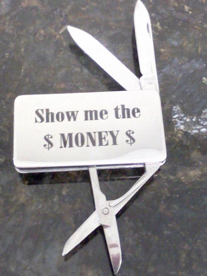 4 Stainless Steel Money Clip with 3 tools, personalized- Laser Engraved- SET OF