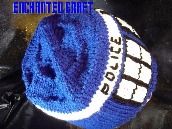 Hand Knitted tARDis beanie Hat inspired by Dr Who