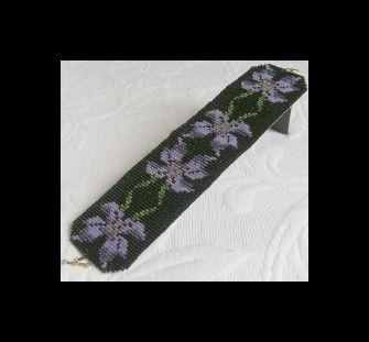 2 Loom Bead Patterns for Violets Cuff Bracelet - 2 For The Price of 1