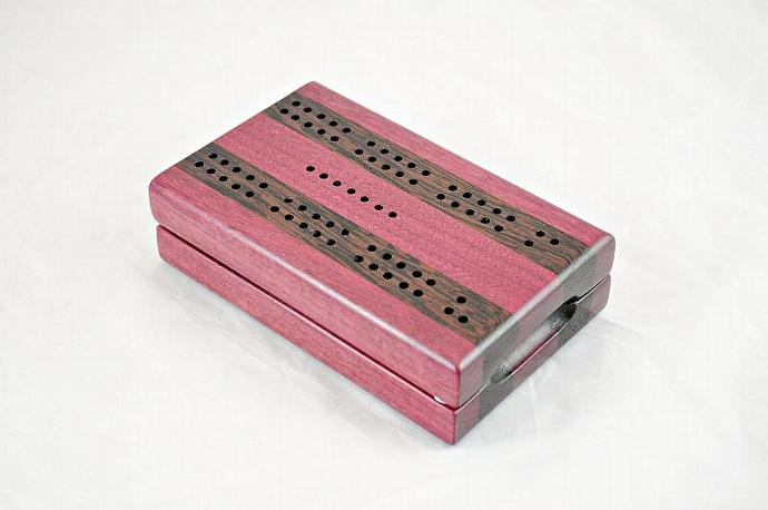 Compact Travel Cribbage - Purpleheart & Wenge