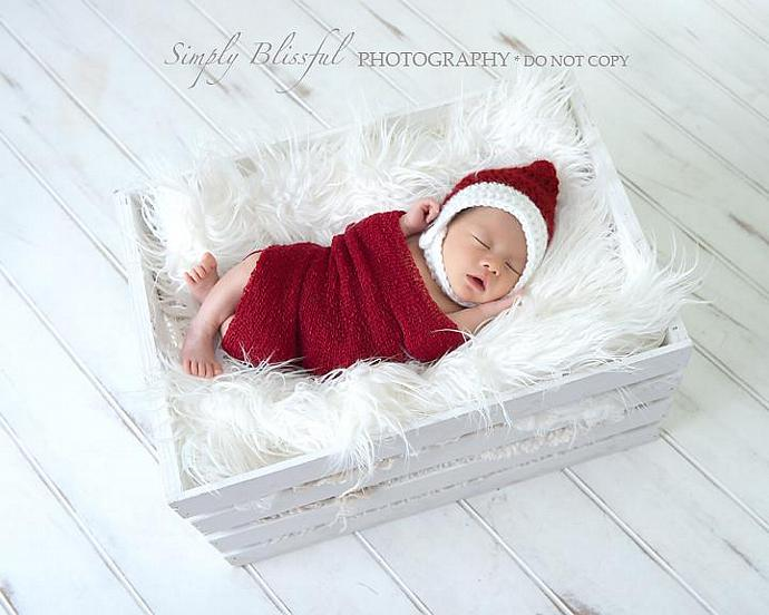 Newborn christmas photography prop set pixie hat posing fur and stretch wrap