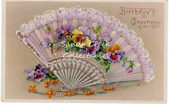 Digital Scan Antique Victorian Birthday Postcard Lacy Fan Pansy