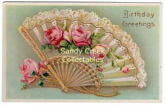 Digital Scan Antique Victorian Birthday Postcard Lacy Fan Roses