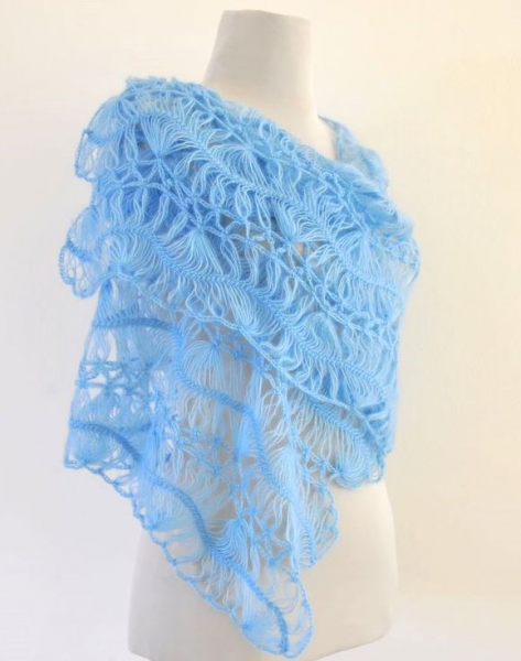 Baby Blue Lace Mohair Shawl