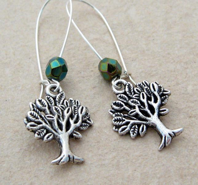 Mighty Tree earrings: silver trees & sparkly, dark green Czech glass