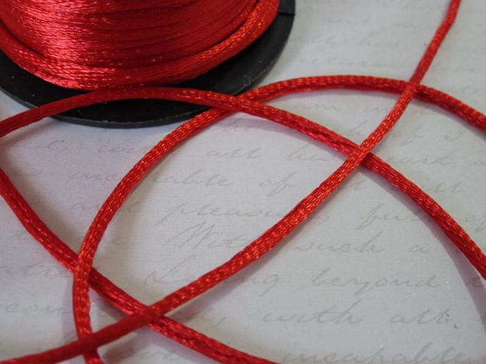 3yds - Red String Satin Ribbon